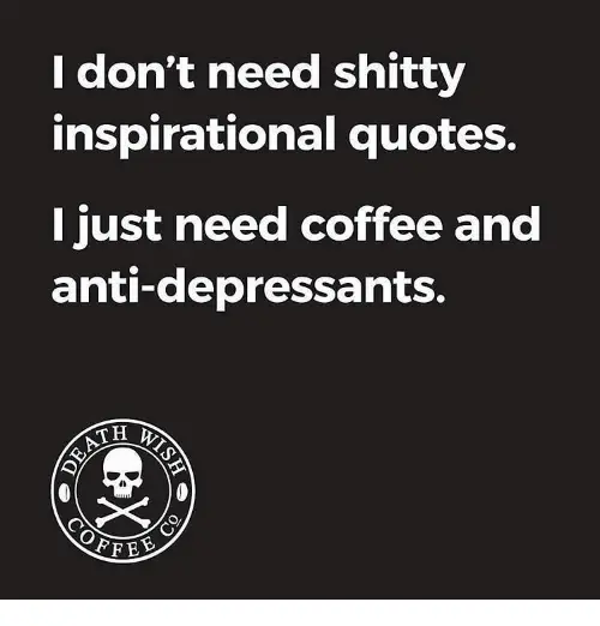 I Don't Need Shitty Inspirational Quotes I Just Need Coffee and ... #needCoffee