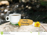 Hello Sunday Text With Coffee Cup Stock Image - Image of concept ... #sundayCoffee