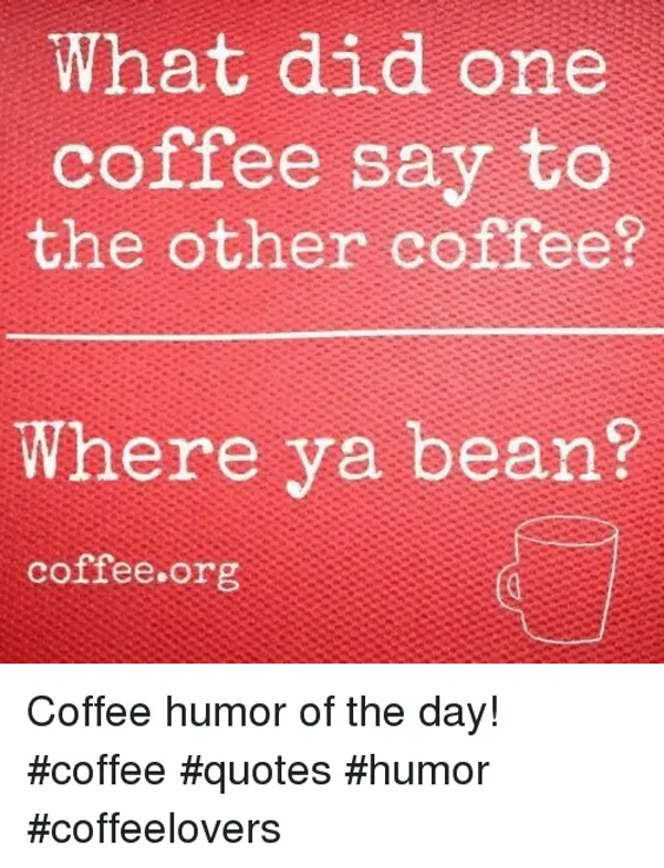 What Did One Coffee Say to the Other Coffee? Where Ya Bean ... #funnyCoffee