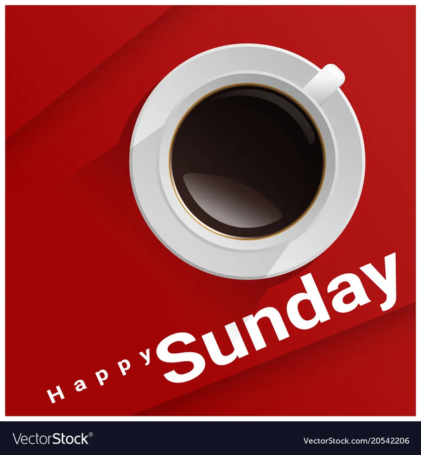 Happy sunday with top view of a cup of coffee Vector Image #sundayCoffee