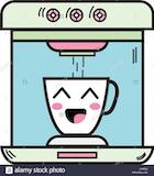 kawaii cute happy coffee maker technology Stock Vector Art ... #happyCoffee