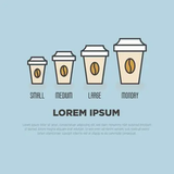 Small Medium Large Monday Coffee Concept With Different Sizes ... #mondayCoffee