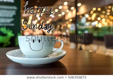 Happy Sunday Coffee Cup On Wooden Stock Photo (Edit Now) 506350873 ... #sundayCoffee