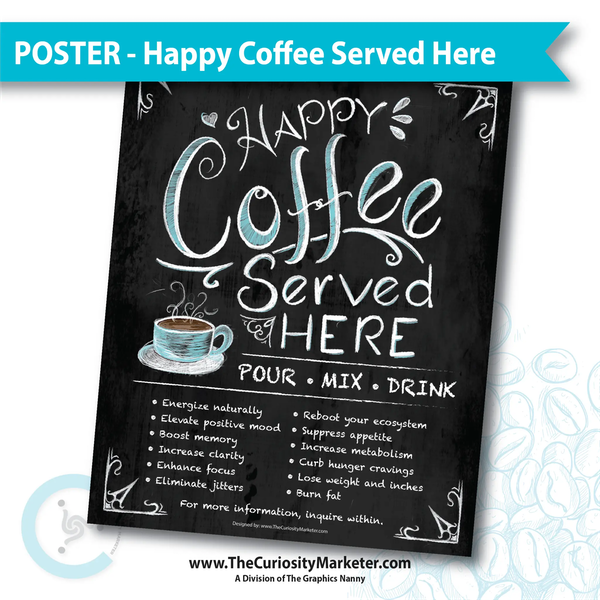 Poster - Happy Coffee Served Here – The Curiosity Marketer #happyCoffee