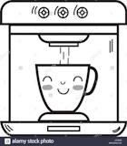 Happy Coffee - line kawaii cute happy coffee maker technology Stock Vector Art ... #happyCoffee