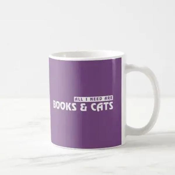 Purple Cats and Books Lover Gift - All I Need ... Coffee Mug ... #needCoffee