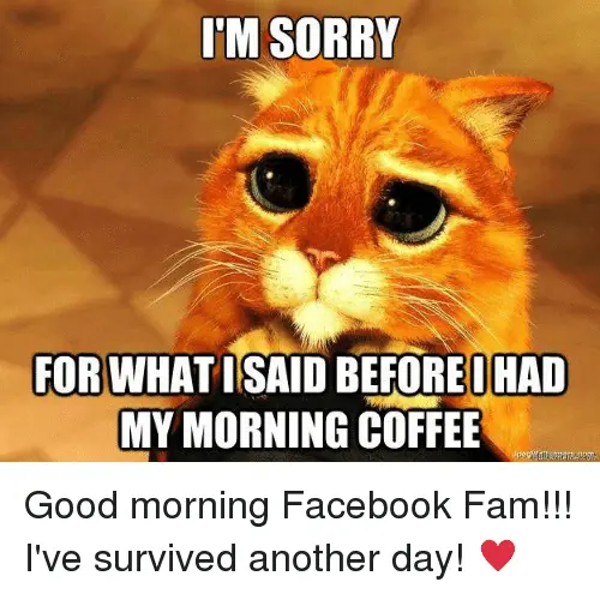 SORRY FOR WHATISAID BEFORE I HAD MY MORNING COFFEE Good Morning ... #goodMorningCoffee