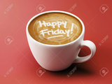 Happy Friday Coffee Cup Concept Isolated On Red Background Stock ... #coffeeFriday